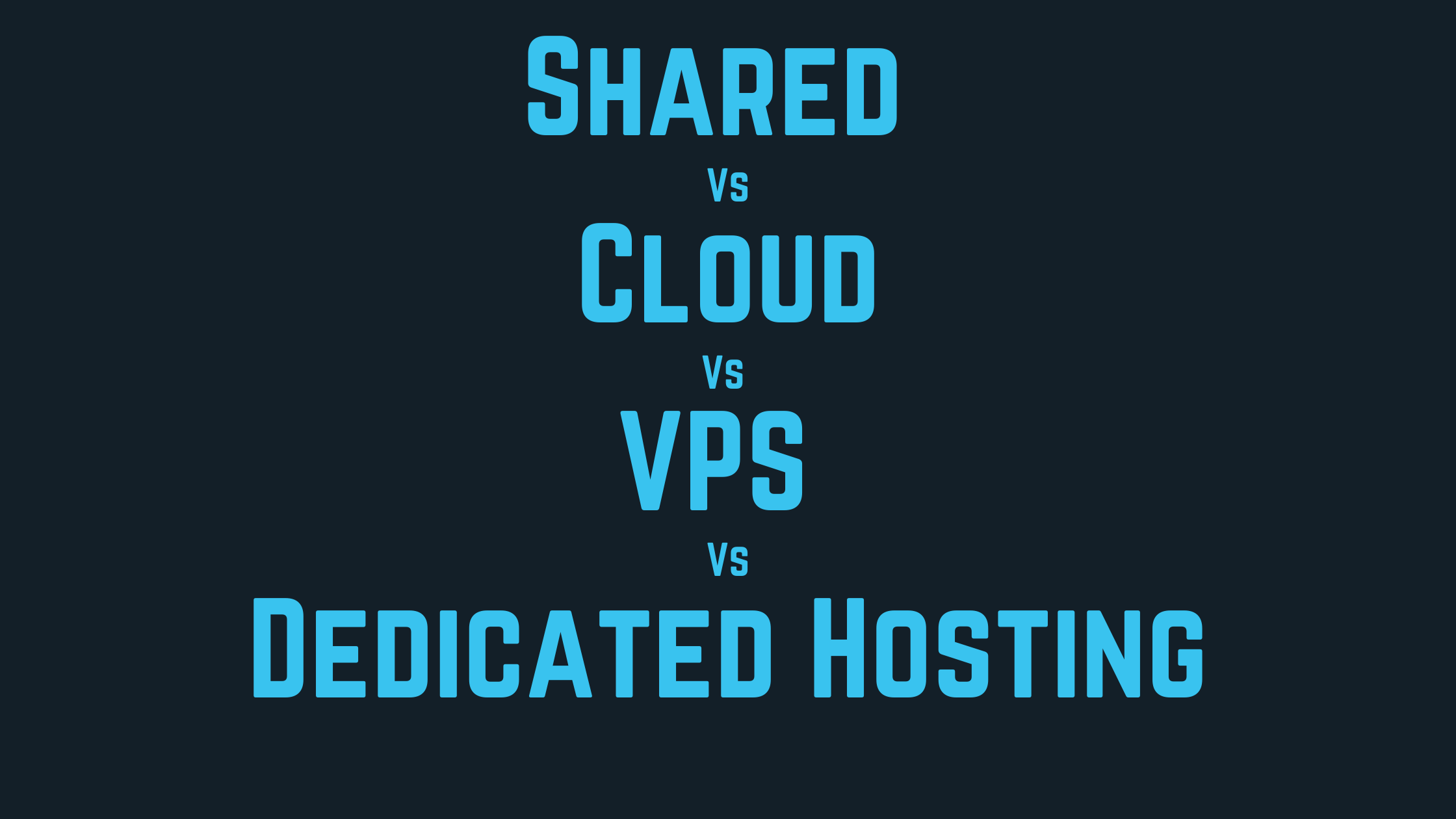 shared vs vps vs cloud vs dedicated hosting